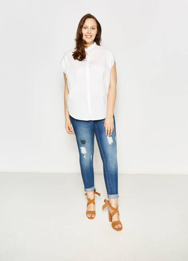 Curvy blouse in linen with bluff collar   OVS