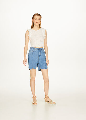 Cotton lace crop top with flounce