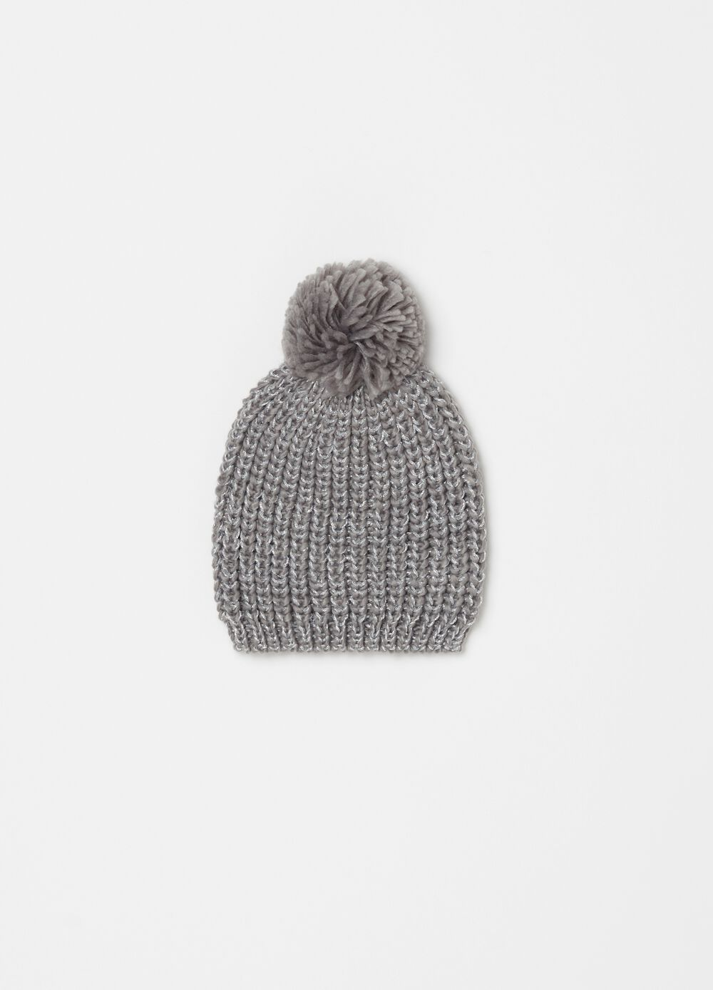 Knit beanie cap with lurex