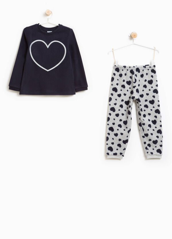 Fleece pyjamas with print and heart pattern | OVS