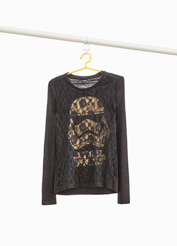 Star Wars print and lace T-shirt