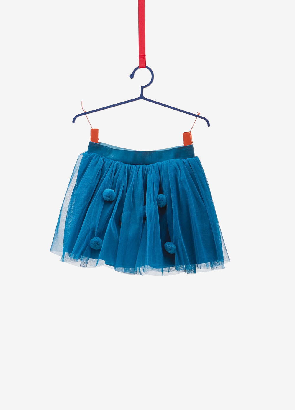 Tulle skirt with pompoms