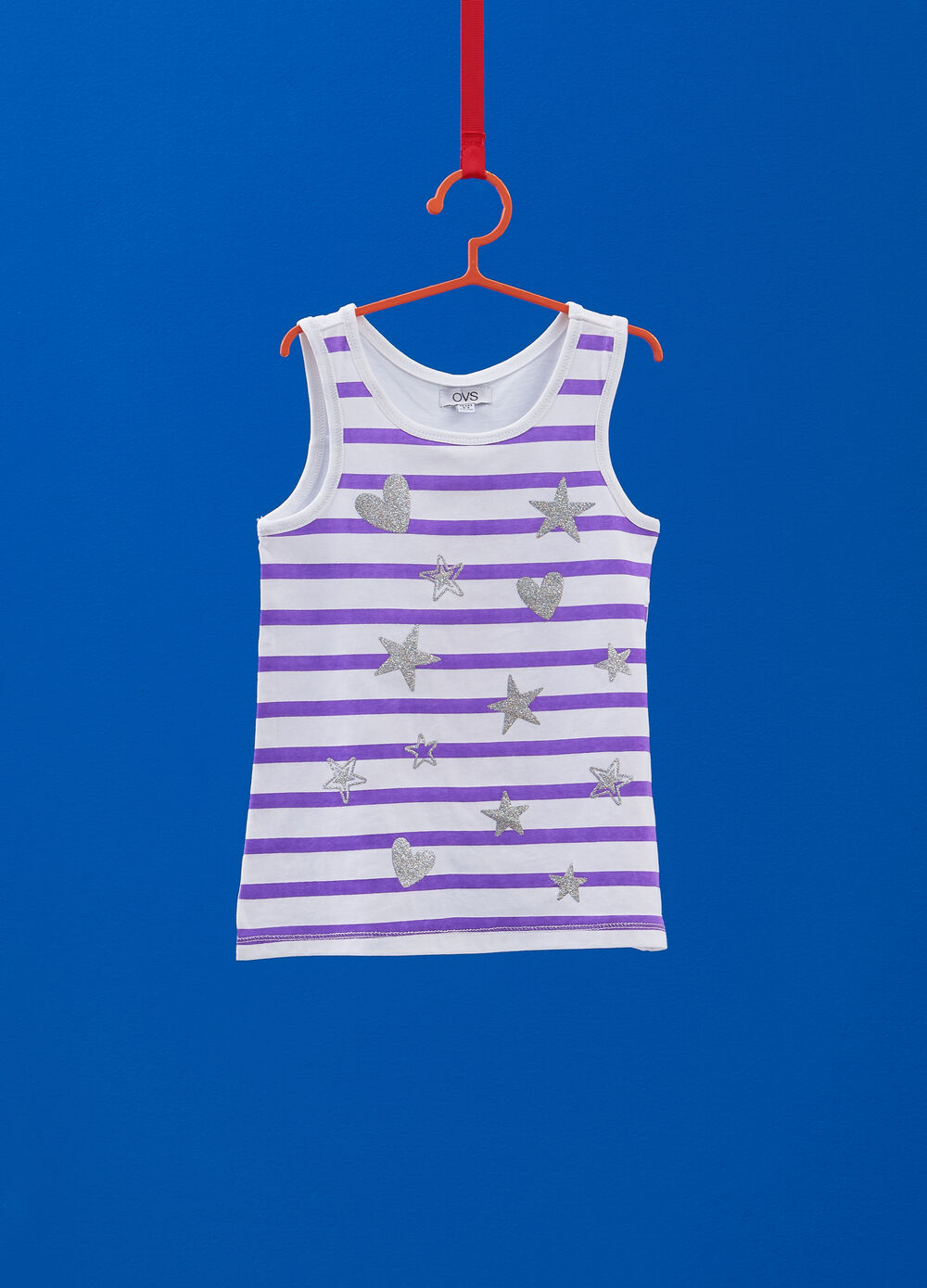 100% cotton striped top with hearts and stars