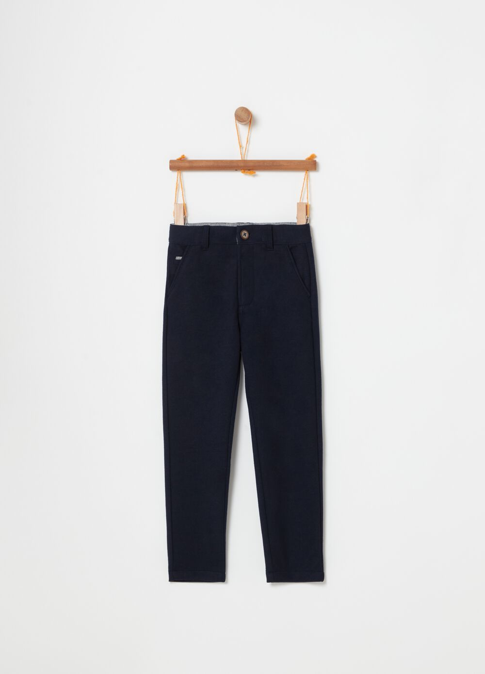 Cotton blend trousers with pockets