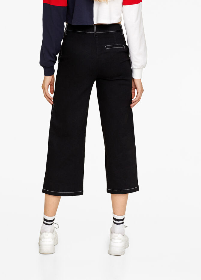 Cropped stretch flared jeans