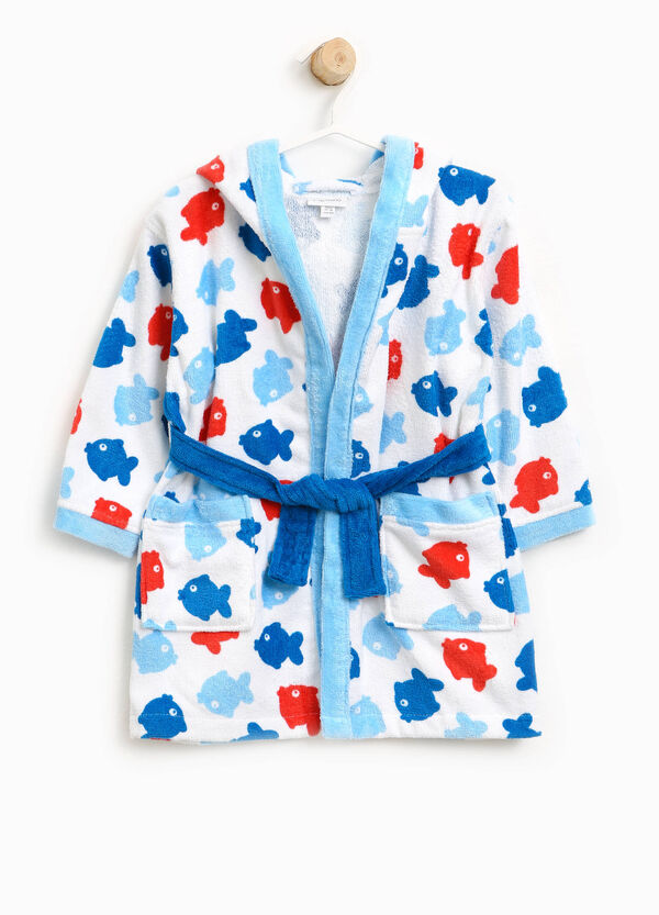 Cotton bathrobe with fish pattern | OVS