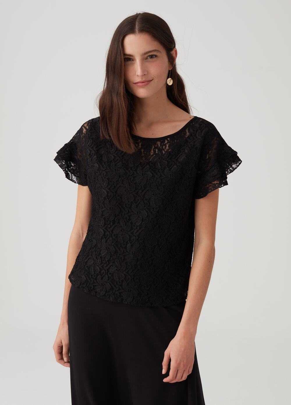 Floral lace-effect stretch top