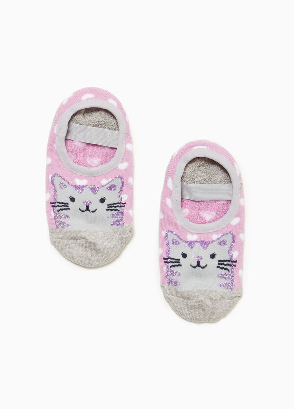 Heart slipper socks with kitten