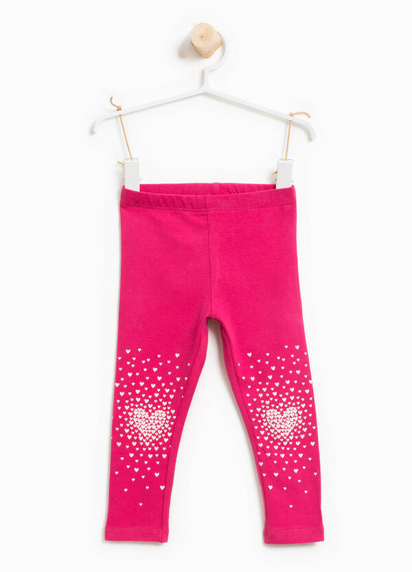 Stretch cotton leggings with hearts print | OVS