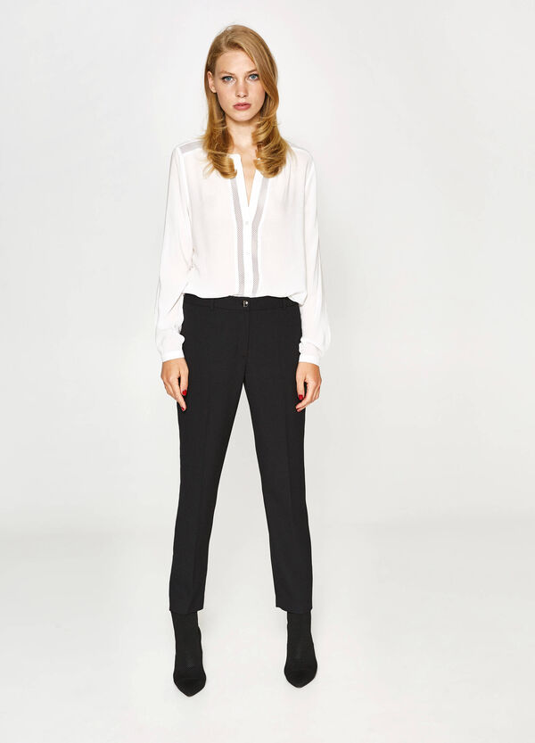 Jacquard trousers with weave | OVS