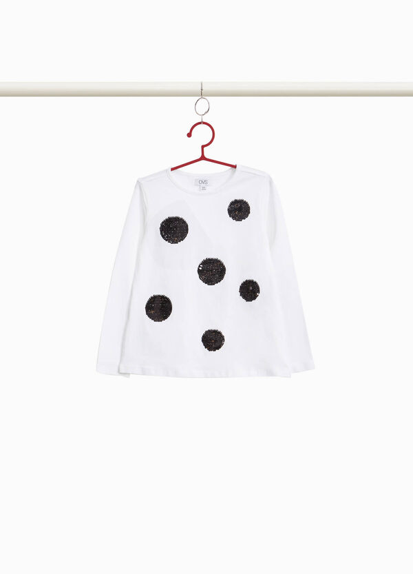 Cotton stretch T-shirt with polka dot sequins