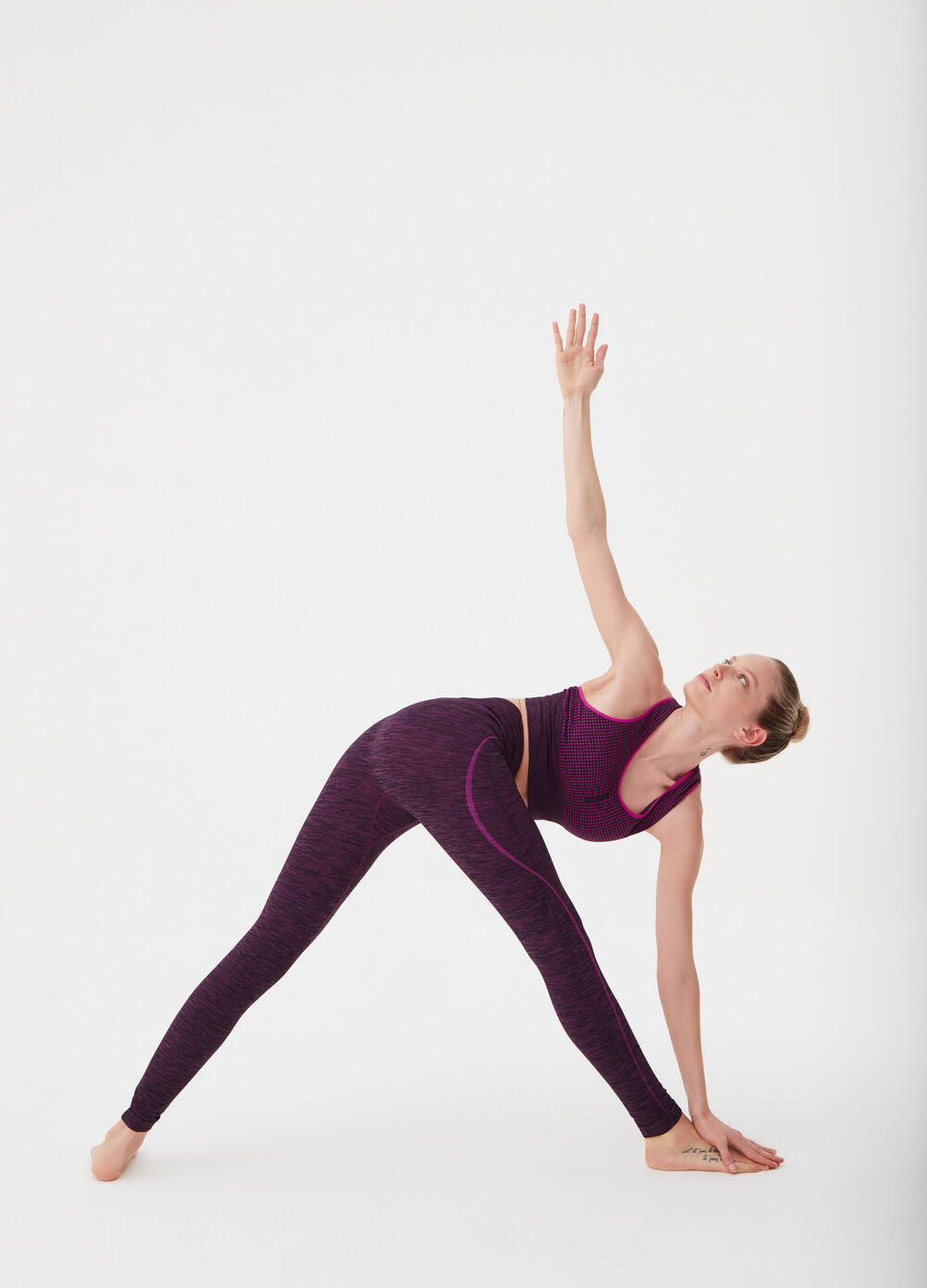 Stretch leggings with contrasting seams