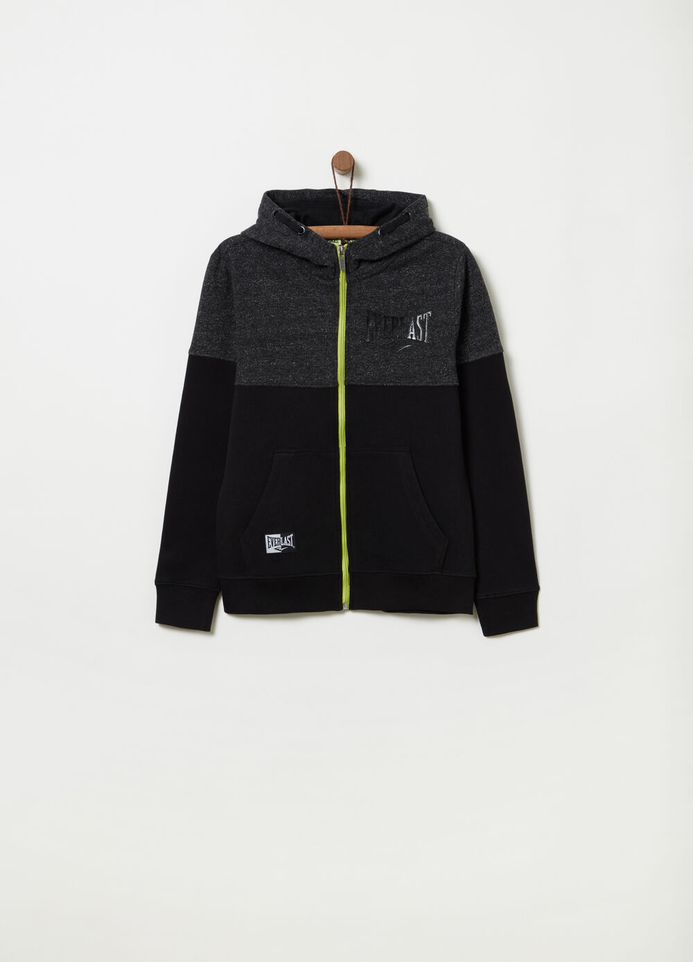 Colorblock sweatshirt with full-zip hood