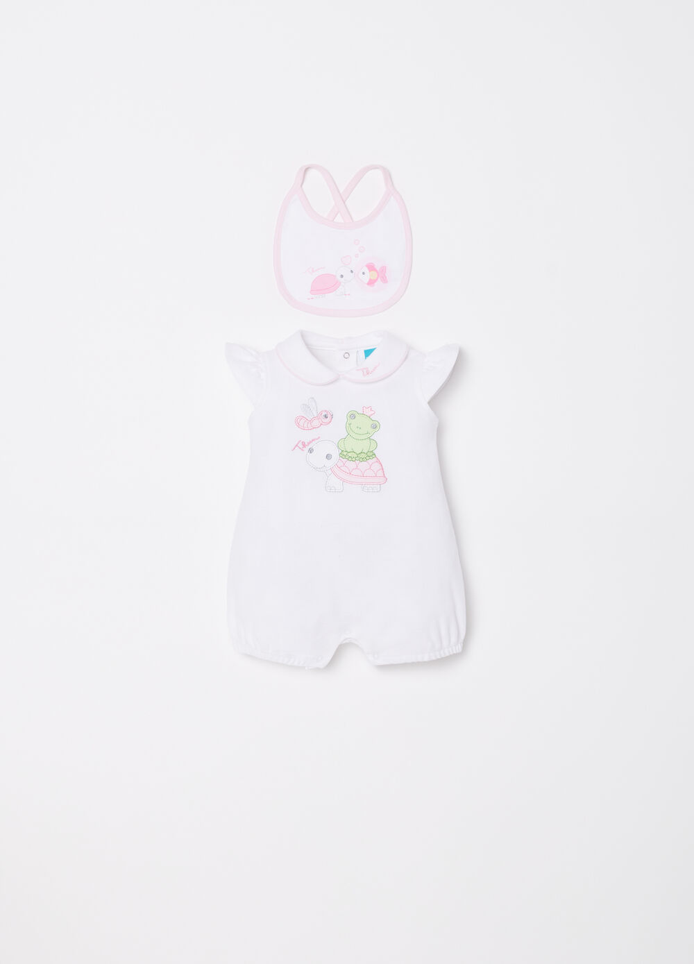 Onesie and bib set with THUN embroidery