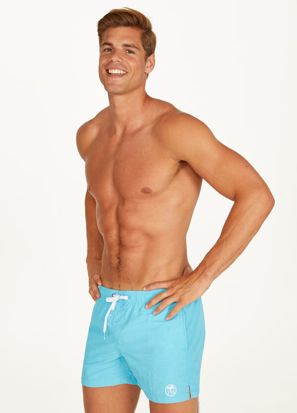 Swim boxer shorts with print and drawstring