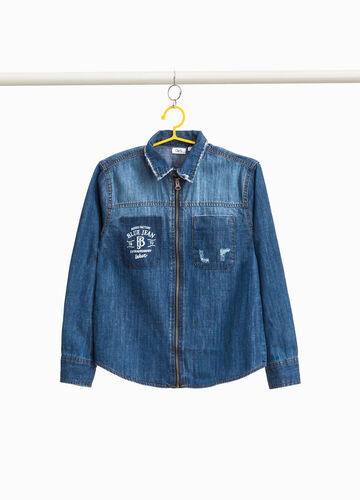 Worn-effect denim shirt with print