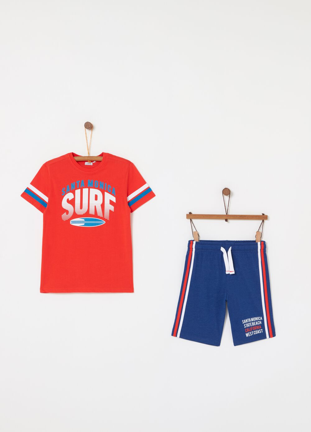 T-shirt and shorts jogging set with surf print