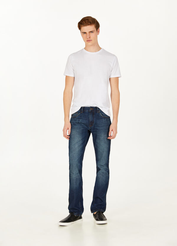Regular-fit jeans with abrasions