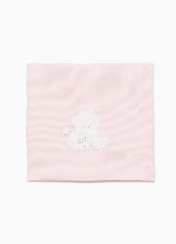 Solid colour cotton blanket with teddy bears