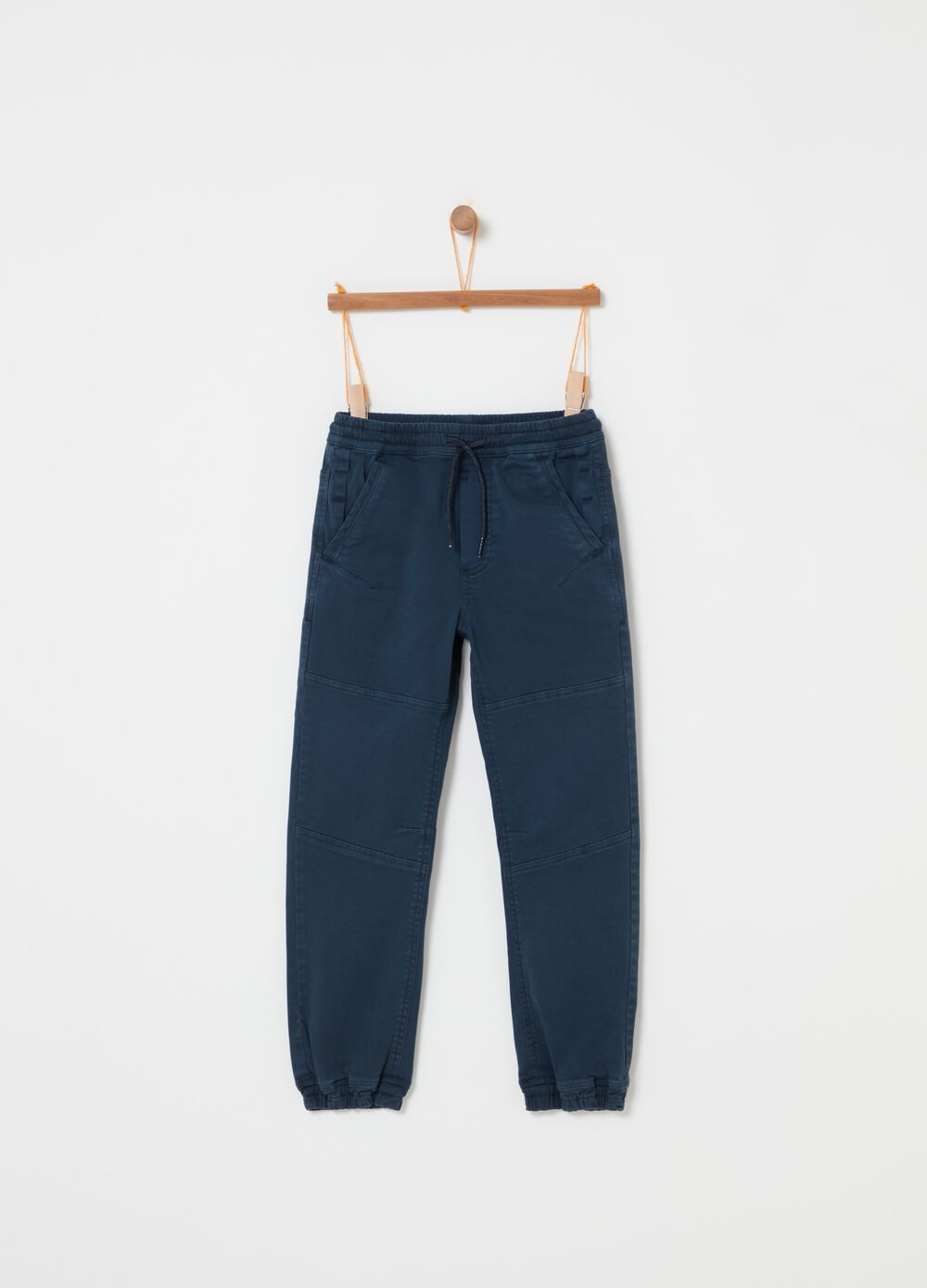 Stretch cotton twill joggers with drawstring