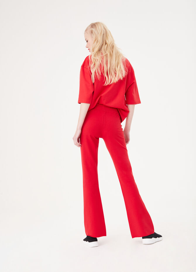 French terry flared trousers
