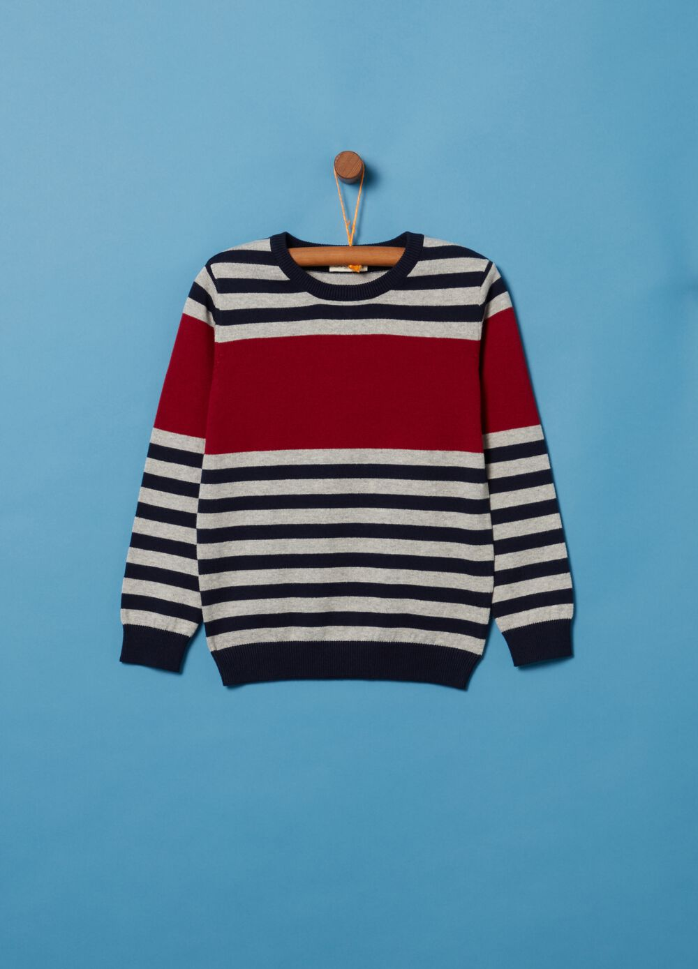 100% cotton knitted pullover with stripes