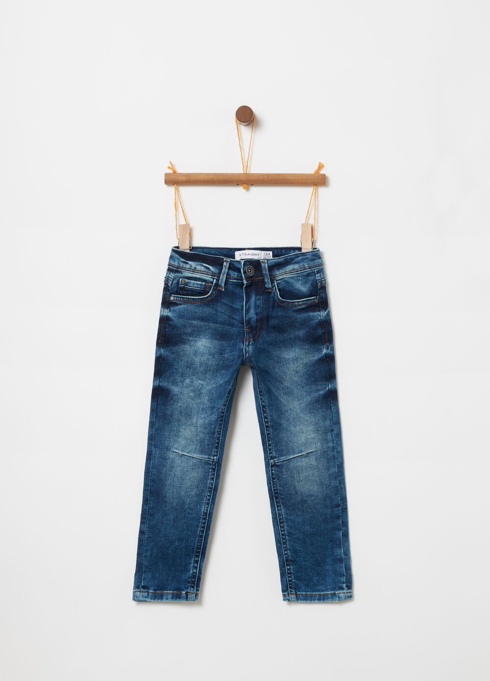 Comfort-fit jeans with misdyed effect
