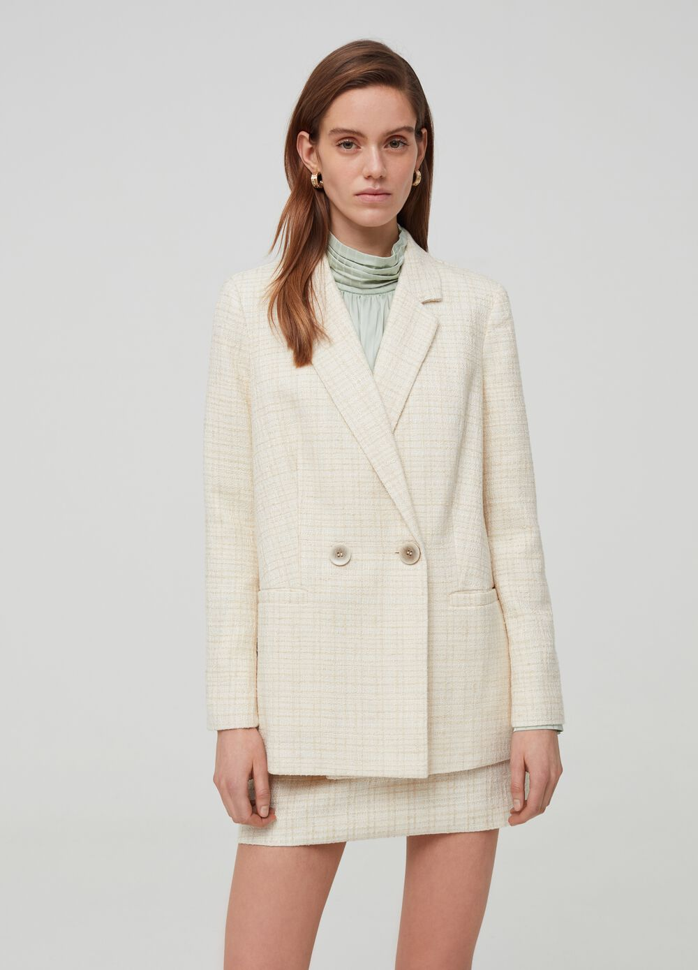 Double-breasted bouclé blazer with lurex