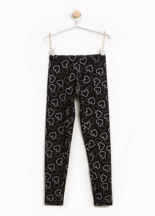Stretch cotton leggings with glitter hearts | OVS