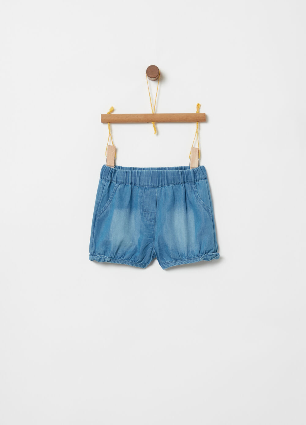 Lightweight denim shorts with elasticated waist and bows