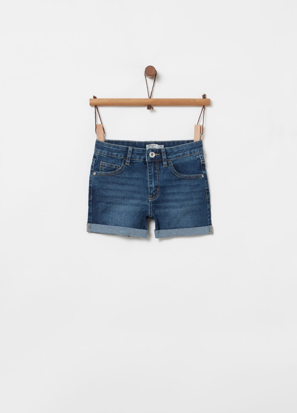 Shorts denim stretch vita elasticata tasche