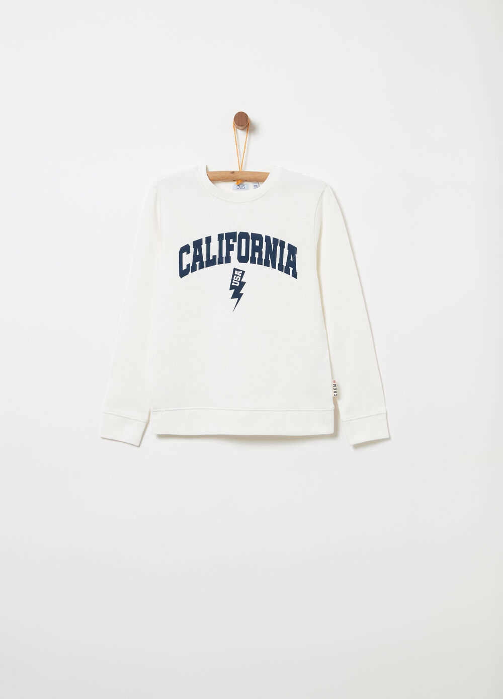 Heavy French terry sweatshirt with round neck