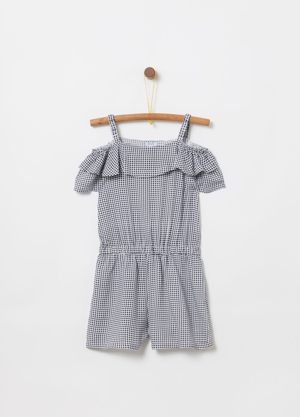 Sleeveless onesie in viscose with ruffles