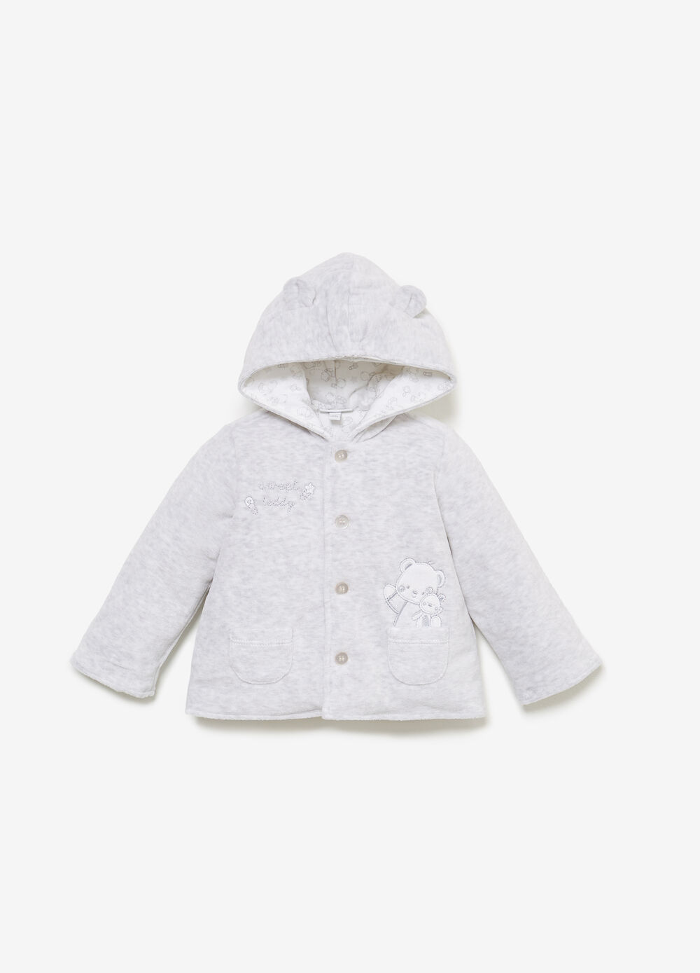 Padded jacket with teddy bear embroidery and patches