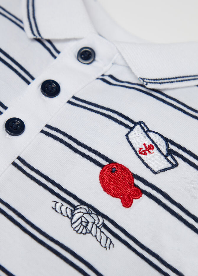 Yarn-dyed jersey polo shirt with striped embroidery