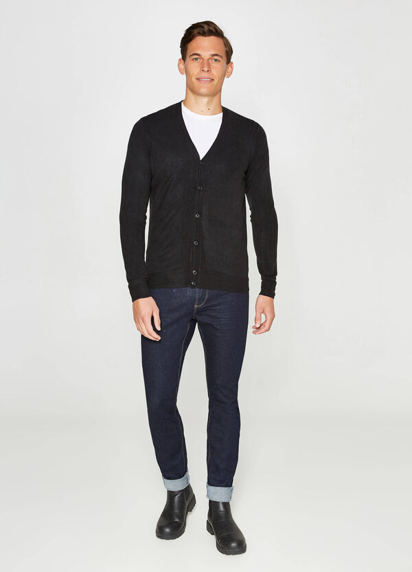 Solid colour knitted cardigan with V neck | OVS