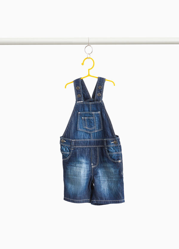 Mis-dyed-effect denim dungarees