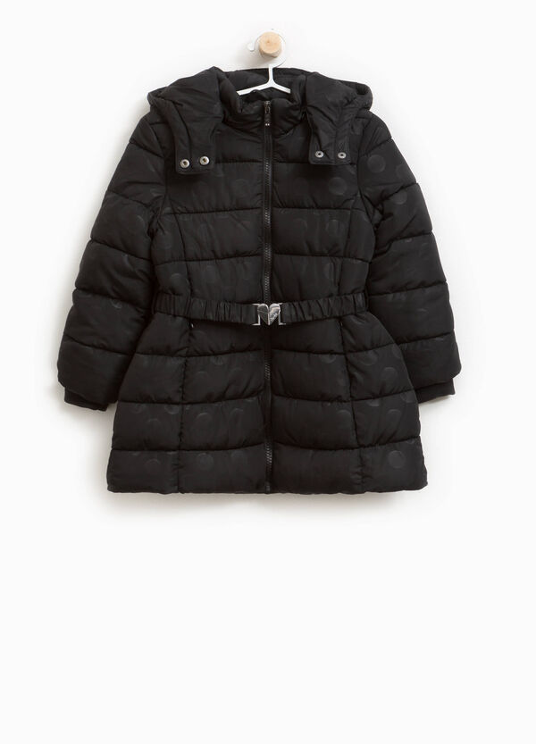 Long polka dot down jacket with belt | OVS