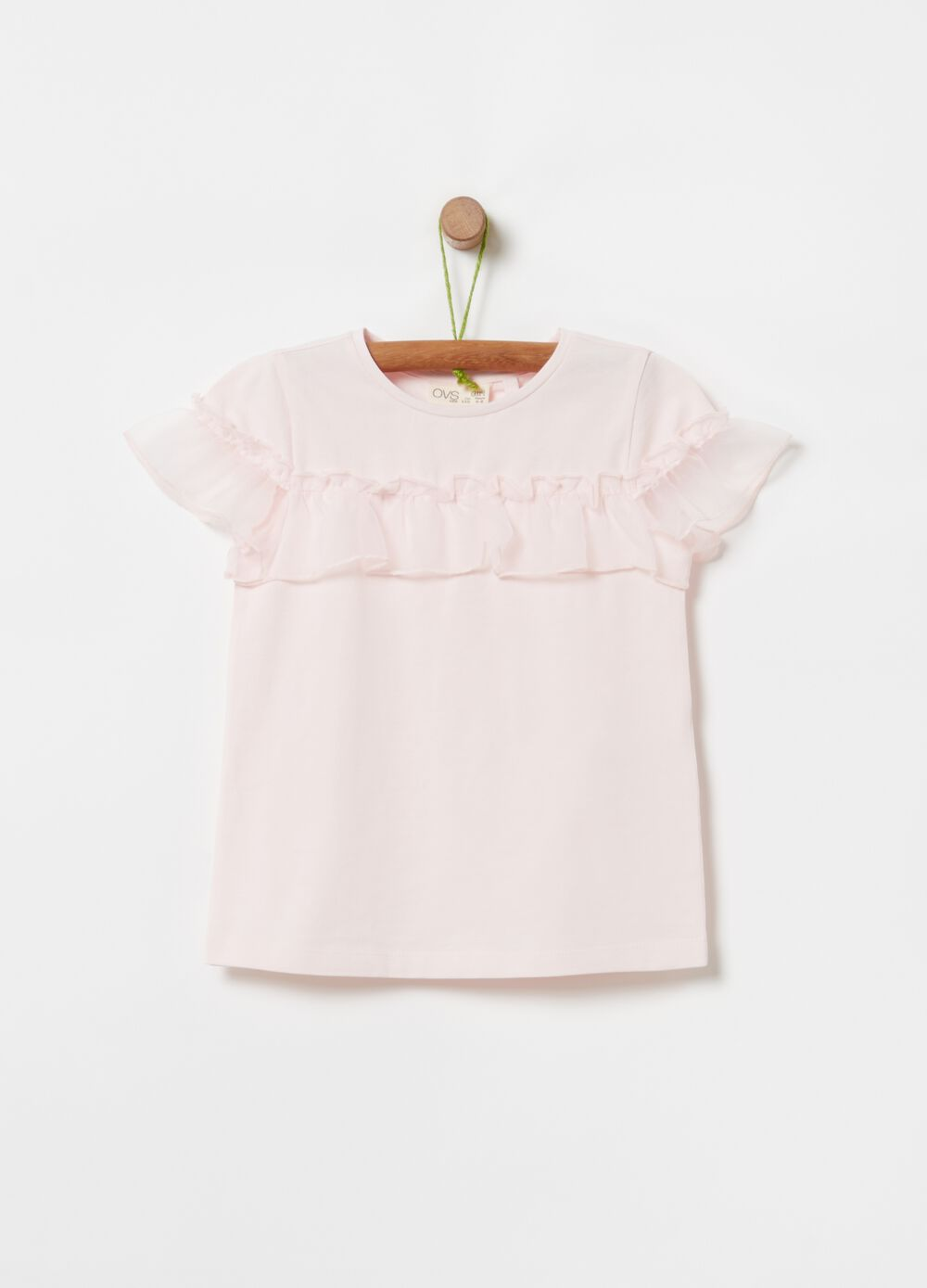 Stretch cotton T-shirt with frills