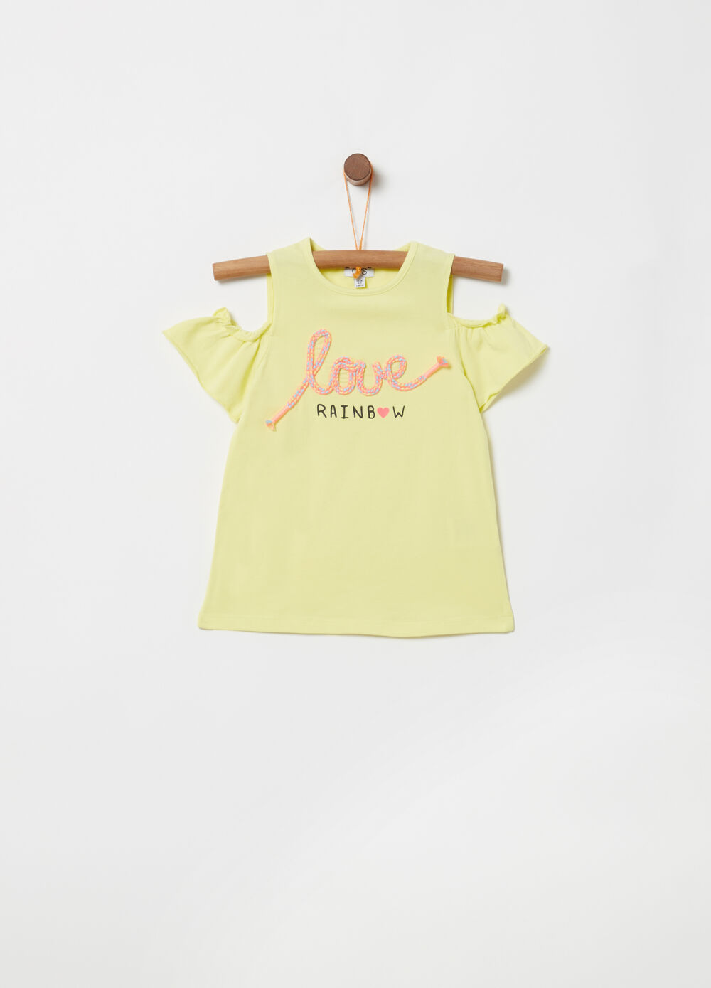 Cotton T-shirt with embroidery and print