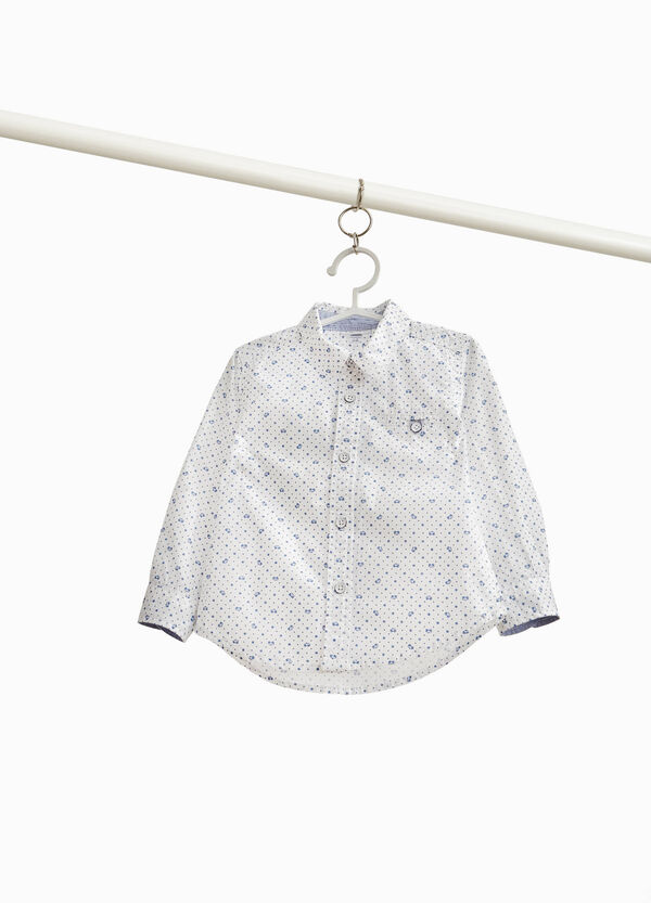 Shirt with polka dot and cars print