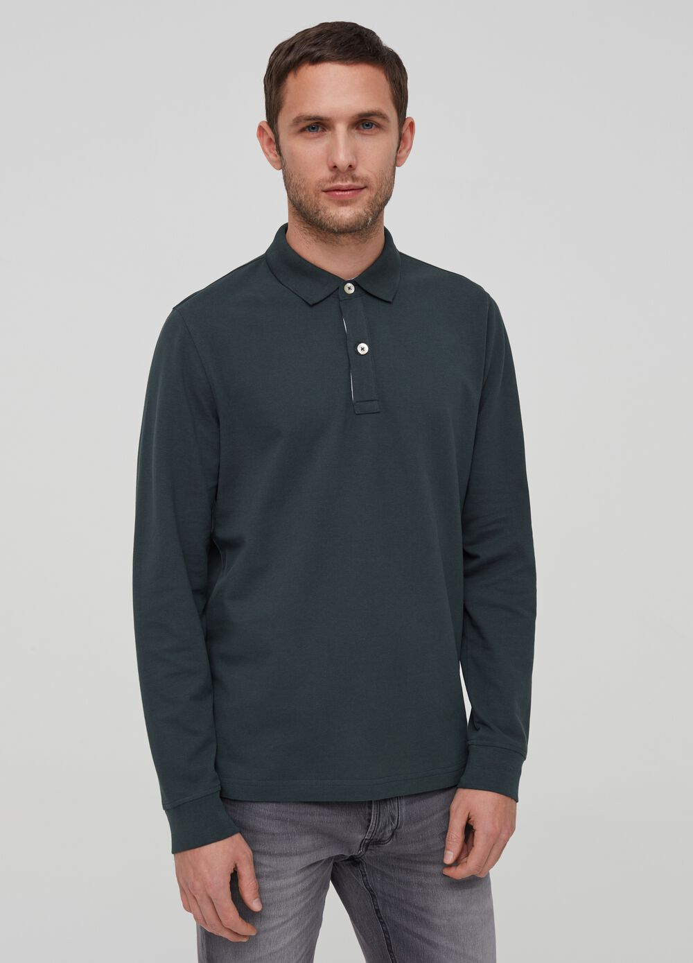 100% cotton polo shirt with ribbing
