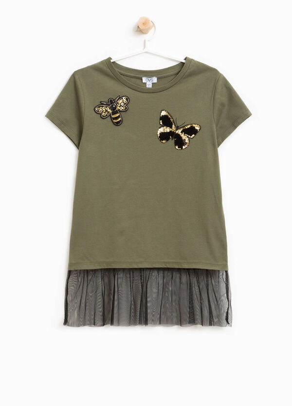 T-shirt cotone patch farfalle e tulle
