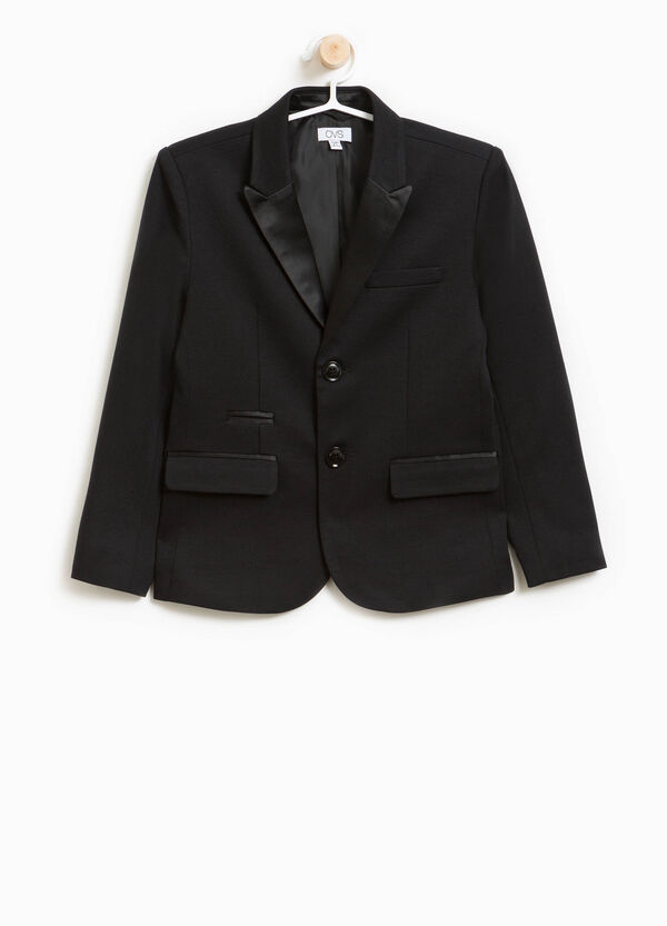 Jacket in 100% cotton with shiny lapels