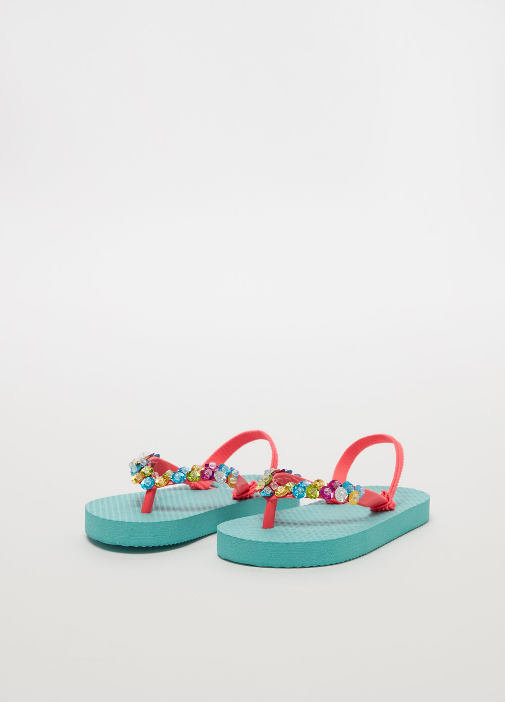 Flip flops with sequins and beads