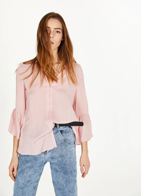 Shirt in 100% viscose with flounce
