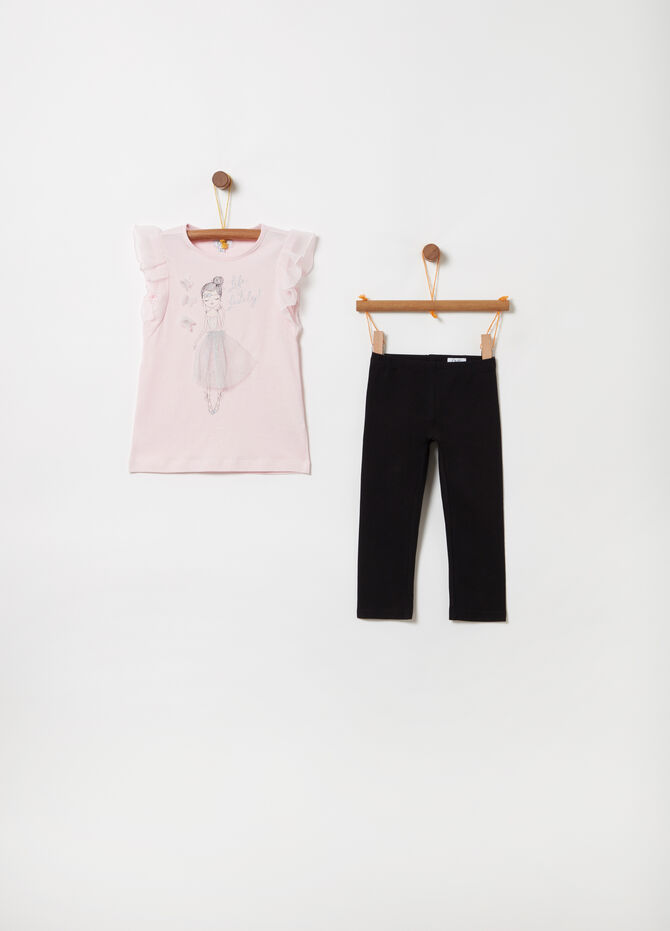 T-shirt and leggings jogging set with tulle