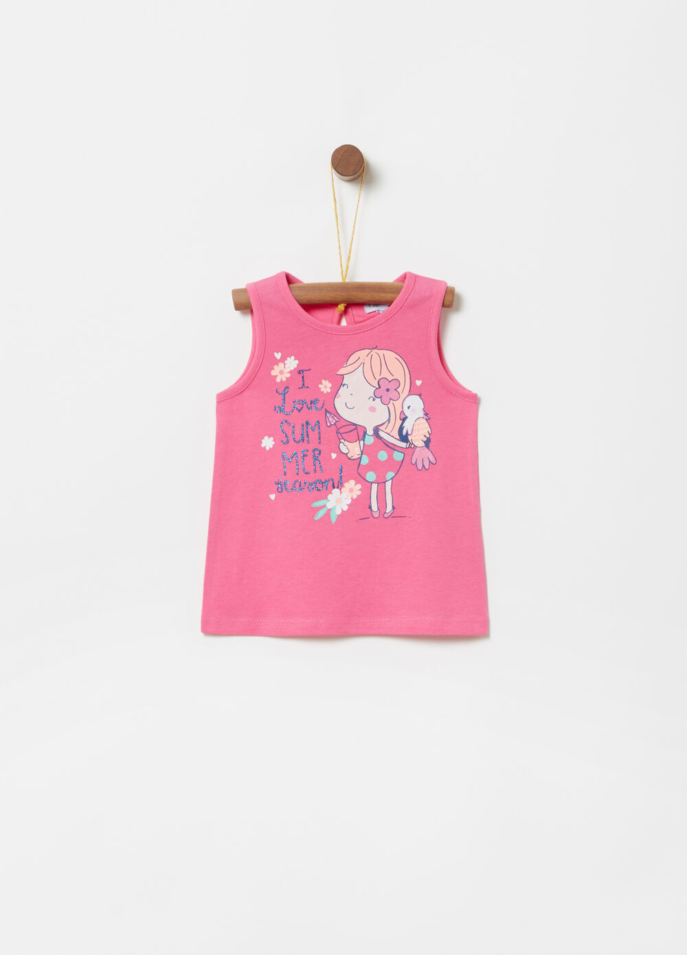 BCI tank top with glitter girl print