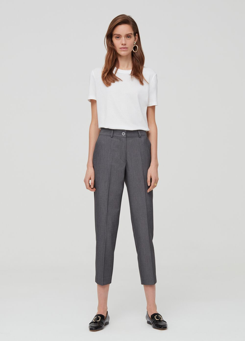 High-waisted trousers in viscose blend