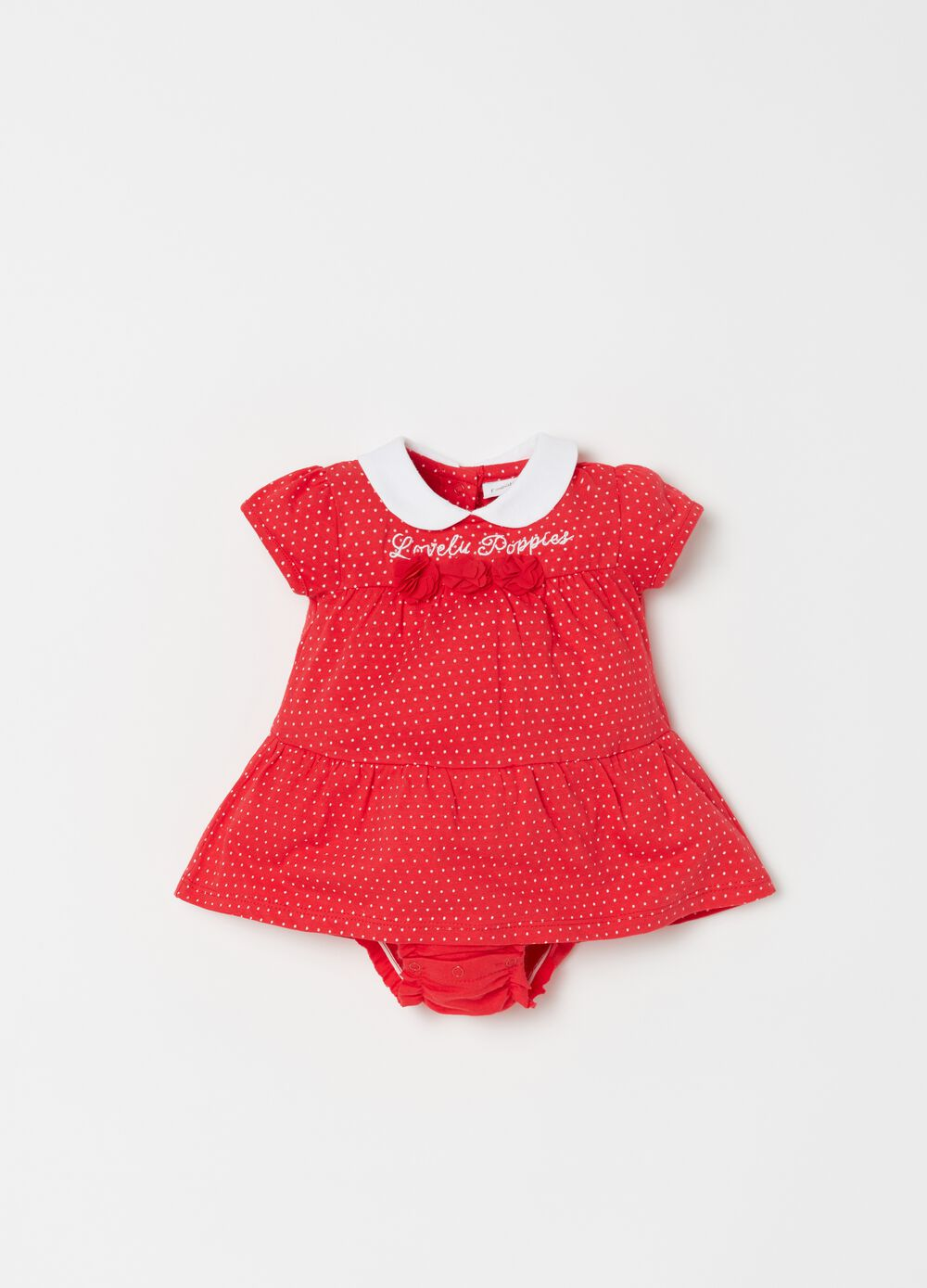 Biocotton onesie with polka dot pattern